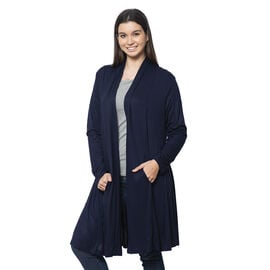Duster Cardigan with Long Sleeves and Side Pockets in Navy Blue