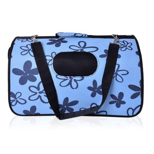 Blue and Black Colour Floral Pattern Pet Carrier (Size 50X28X27 Cm) with Shoulder Strap