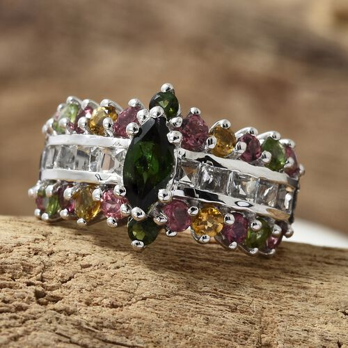 Rainbow Tourmaline (Mrq), White Topaz Ring in Platinum Overlay Sterling Silver 3.500 Ct. Silver wt 5.95 Gms.