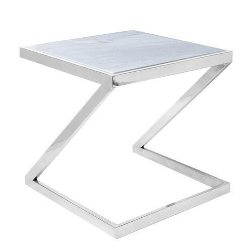 Stainless Steel Side Table with White Colour Marble Top (Size 36.5x35x35 Cm)