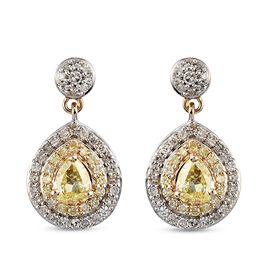 9K Yellow and White Gold Natural Yellow Diamond and White Diamond Teardrop Earrings (with Push Back)