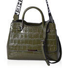 100% Genuine Leather Croc Embossed Tote Bag with Shoulder Strap (Size 28x13x21 Cm) - Green