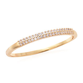 Simulated Diamond Bangle (Size 6.75) in Yellow Gold Plated