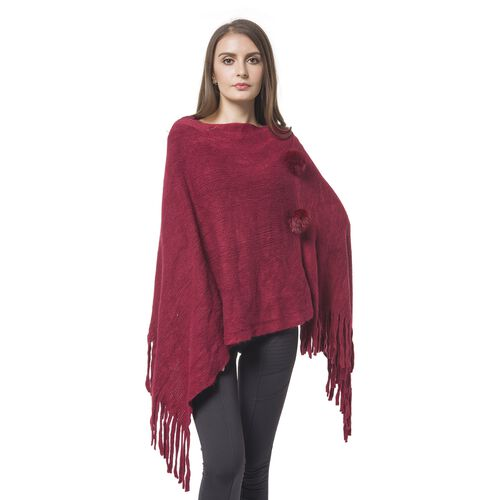 Designer Inspired - Wine Red Colour Pom Pom Embellished Poncho with Tassels (One Size)