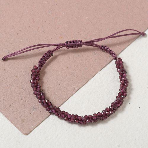 One Time Deal- Rhodolite Garnet Bead Adjustable Bracelet (Size 6.5-9.5) 40.33 Ct.