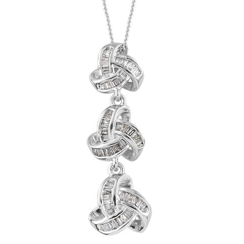 Diamond (Bgt) Triple Knot Pendant With Chain (Size 18) in  Platinum Overlay Sterling Silver 0.335 Ct.