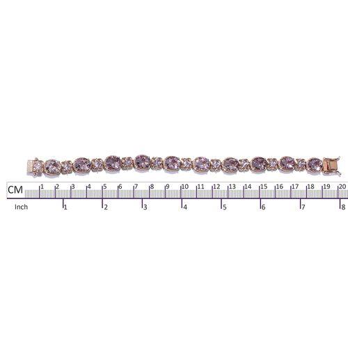Rose De France Amethyst (Ovl and Sqr) Bracelet (Size 7.5) in Rose Gold Overlay Sterling Silver 26.250 Ct. Silver wt 17.35 Gms.