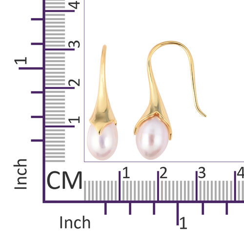 LucyQ Freshwater White Pearl Hook Earrings in Yellow Gold Overlay Sterling Silver