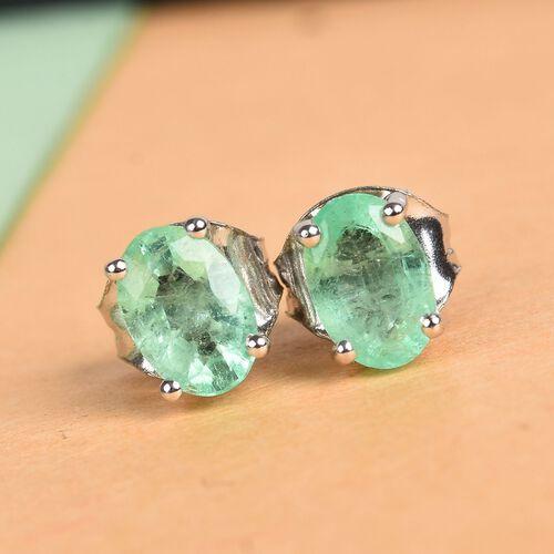 9K White Gold AA Boyaca Colombian Emerald (Ovl) Stud Earrings (with Push Back) 0.85 Ct.