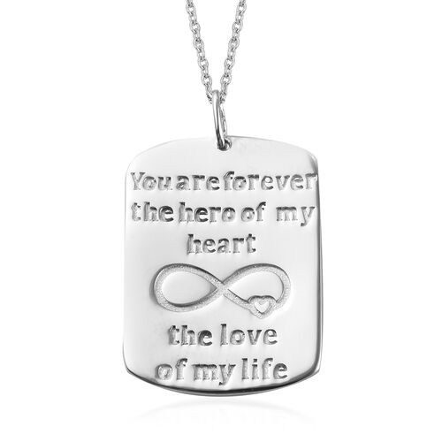 Platinum Overlay Sterling Silver Engraved Infinity Pendant with Chain (Size 18), Silver wt 6.20 Gms