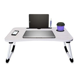 Multi-Function Folding Table with Cup and Ipad Holder (Size 60x37x27 Cm) - Cream White