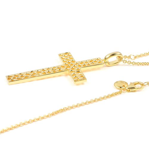 WEBEX- Rachel Galley Yellow Gold Plated Sterling Silver Lattice Cross Pendant With Chain, Silver wt 14.59 Gms.