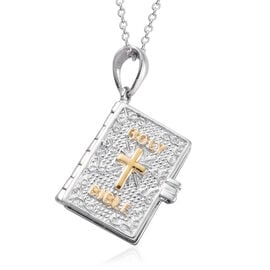 Platinum Overlay Sterling Silver Bible Book Pendant With Chain (Size  20), Silver wt 8.11 Gms.