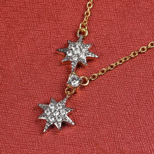 Natural Cambodian Zircon Star Necklace (Size 18) in 14K Gold Overlay Sterling Silver 0.50 Ct.