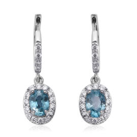 Blue and White Zircon Halo Drop Earrings with Clasp in Rhodium Plated Sterling Silver
