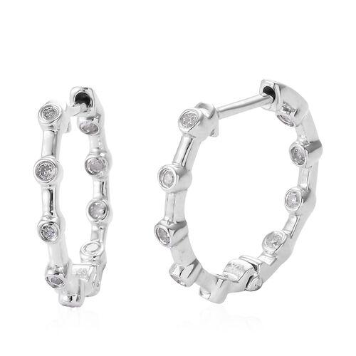 Diamond (Rnd) Hoop Earrings in Platinum Overlay Sterling Silver 0.200 Ct.