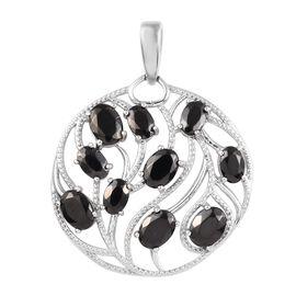 3.58 Ct Elite Shungite Circle Pendant in Platinum Plated Silver