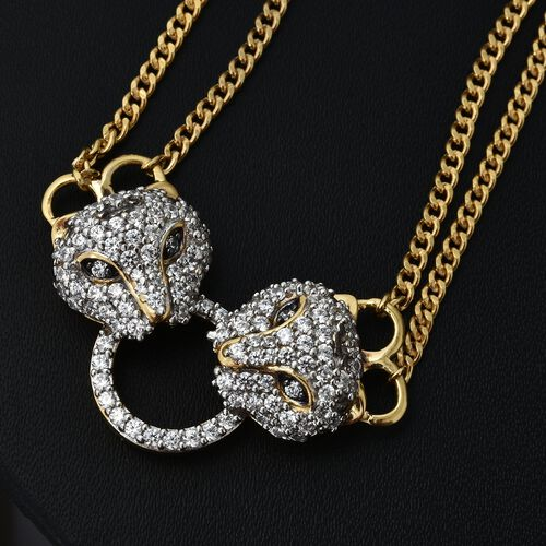 J Francis - Platinum and 14K Gold Overlay Sterling Silver (Rnd) Leopard Necklace (Size 18 with 2 inch Extender) Made with SWAROVSKI ZIRCONIA, Silver wt 18.00 Gms. Number of Swarovski 117