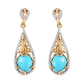 2 Carat Arizona Sleeping Beauty Turquoise Drop Earrings in Gold Plated Sterling Silver