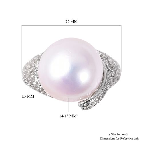 Edison Pearl (Rnd) and Natural Cambodian White Zircon Ring in Rhodium Overlay Sterling Silver
