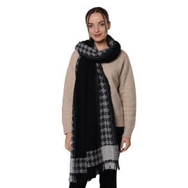 Close Out Deal LA MAREY Super Soft 100% Wool Shawl in Black Houndstooth Border Pattern with Tassels