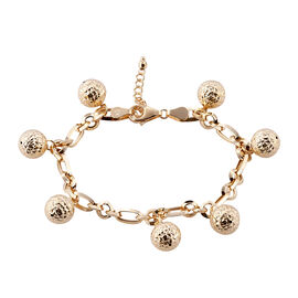 Royal Bali Collection 9K Yellow Gold Oval and Round Link Bracelet (Size 7 with 1 inch Extender) with Ball Charm, Gold wt 8.11 Gms.