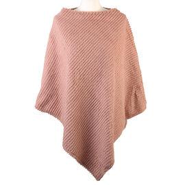 Striped Design Soft Faux Fur Poncho (Size 100x84 cm) - Pink