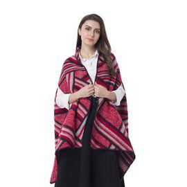 Spring Edition - Red Colour Artistic Stripe Pattern Kimono (Size 180x65 Cm)