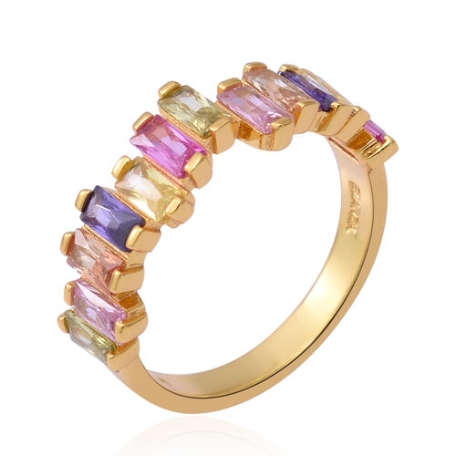 ELANZA Simulated Rainbow Sapphire Ring in Yellow Gold Overlay Sterling Silver 3.60 Ct.