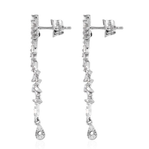 GP Diamond (Rnd and Bgt), Blue Sapphire Earrings with Push Back in Platinum Overlay Sterling Silver 0.540 Ct.