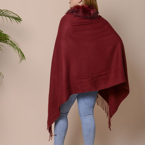 Designer Inspired Faux Fur Trimmed Cape - Wine Red (One Size)