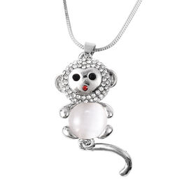 Simulated White Cats Eye (Rnd), Multi Colour Austrian Crystal Monkey Pendant with Chain (Size 28 wit
