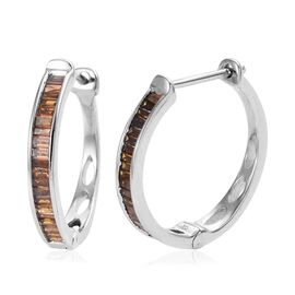 9K White Gold Red Diamond Hoop Earrings (with Clasp) 0.500 Ct.
