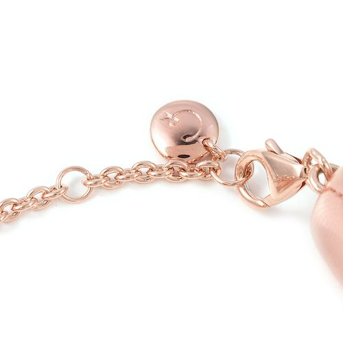 RACHEL GALLEY Rose Gold Overlay Sterling Silver Memento Diamond Bracelet (Size 8 with Extender), Silver wt 40.87 Gms.