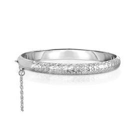 Sterling Silver Diamond Cut Hinged Bangle (Size 7.5), Silver wt 8.00 Gms