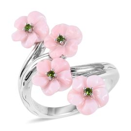 Jardin Collection - Pink Mother of Pearl and Russian Diopside Floral Bypass Ring in Rhodium Overlay