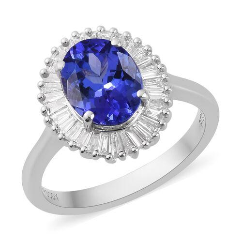 RHAPSODY 950 Platinum AAAA Tanzanite and Diamond (VS/E-F) Halo Ring 2.50 Ct