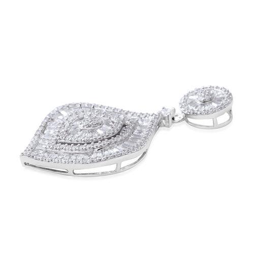 Designer Inspired-ELANZA Simulated Diamond (Rnd) Pendant in Rhodium Overlay Sterling Silver