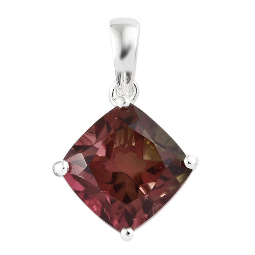 Finch Quartz (Cush 9x9 mm) Pendant in Sterling Silver 4.000 Ct.