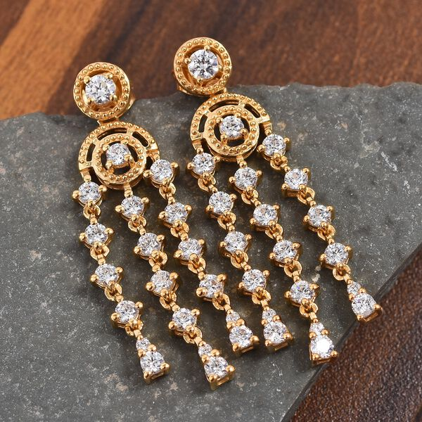 J Francis Made with SWAROVSKI ZIRCONIA Dangle Earrings in 14K Gold Plated Sterling Silver