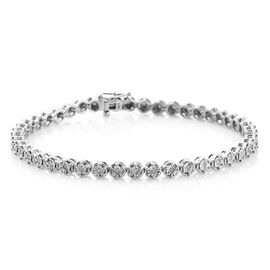 Diamond Tennis Bracelet (Size 8) in Platinum Overlay Sterling Silver 0.33 Ct, Silver wt 12.50 Gms.