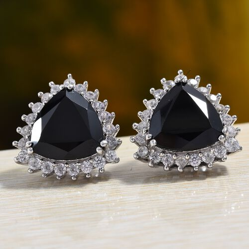 Natural Boi Ploi Black Spinel (Trl), Natural Cambodian Zircon Earrings (with Push Back) in Platinum Overlay Sterling Silver 15.25 Ct.
