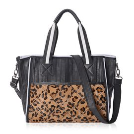 100% Genuine Leather Leopard Pattern Tote Bag with Detachable Shoulder Strap (Size 34.5x11x30x42 Cm)