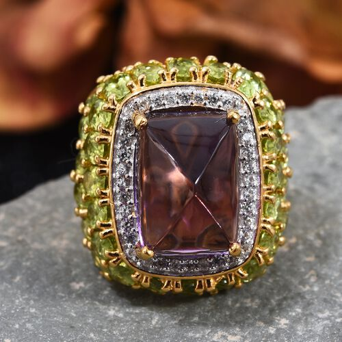 GP Zambian Amethyst (Cush 14x10 mm) Hebei Peridot, Natural Cambodian Zircon and Blue Sapphire Ring in 14K Gold Overlay Sterling Silver 17.75 Ct, Silver wt 8.31 Gms