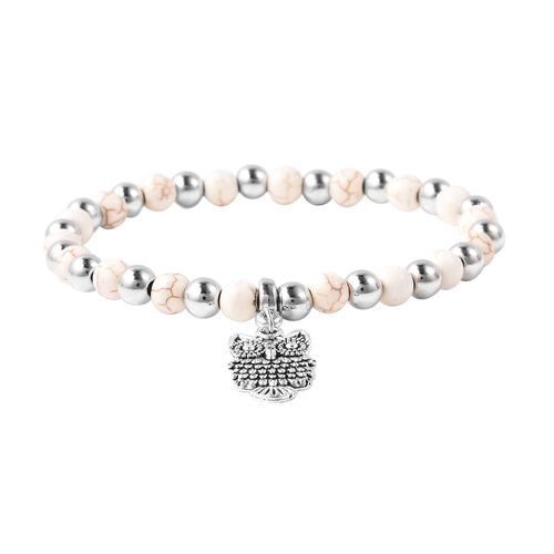 White Howlite (Rnd), Stretchable Beads Bracelet (Size 7) with Owl Charm in Antique Silver Plated 30.