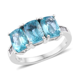 3.07 Ct Rare Shape Paraibe Apatite and Diamond Trilogy Ring in Platinum Plated Sterling Silver