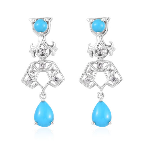 Arizona Sleeping Beauty Turquoise and Natural Cambodian Zircon Earrings (with Push Back) in Platinum