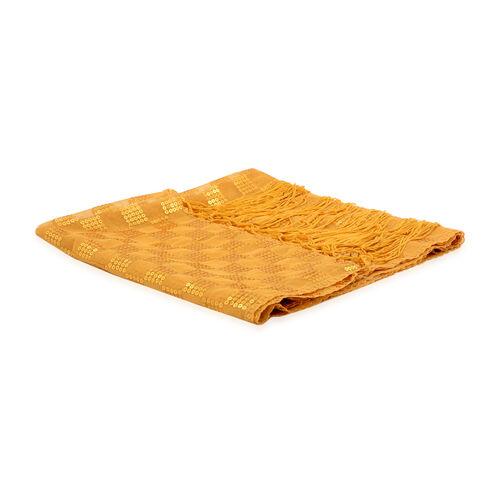 Gold Colour Check Pattern Sequin Scarf (Size 55x160 Cm)