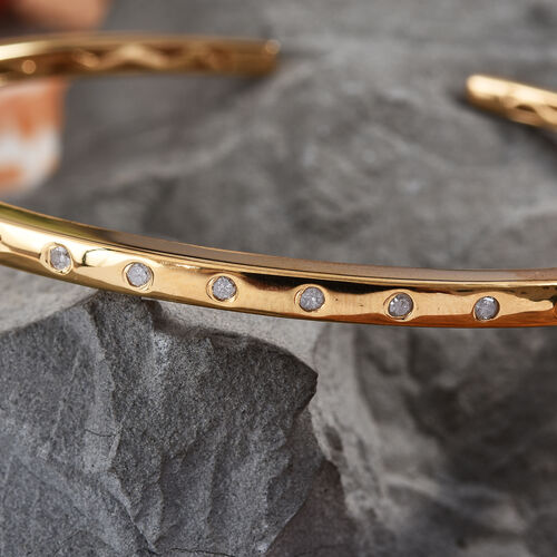 Diamond Bangle (Size 7.5) in 14K Gold Overlay Sterling Silver  0.250  Ct.
