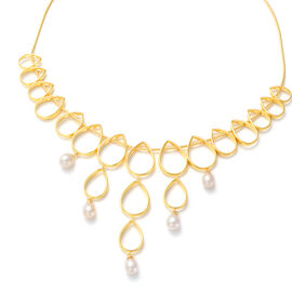 LucyQ Open Tear Drop Collection - Freshwater Pearl Necklace (Size 16/ 18 / 20) in Yellow Gold Overla